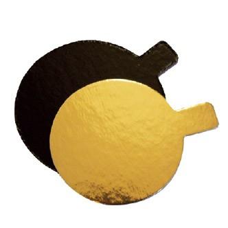 Untersetzer Petits Four 6 cm rund gold / schwarz