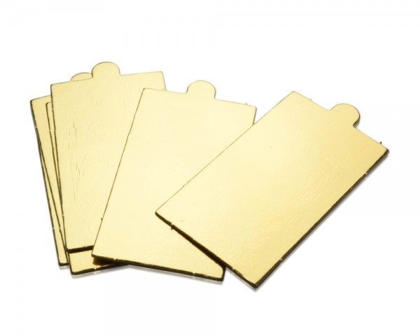 Tortenscheiben Rechteck mit Lasche gold