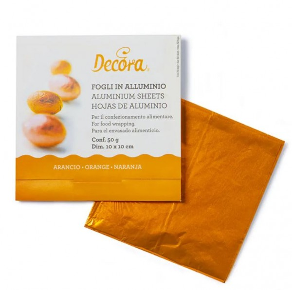 Pralinenfolie Orange 10 x 10 cm